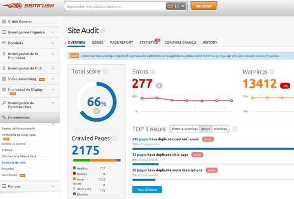 Contenido duplicado interno en una web detectado con Semrush Site Audit Tool